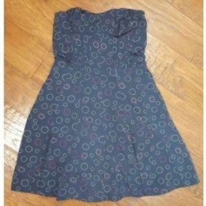 American Eagle Navy Strapless Dress Blue Circles 2